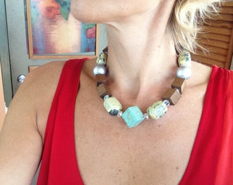 Turquoise, Big, Chunky, Stone, Statement Necklace, Silver Ball, , Multicolor, Modern, Unique