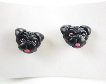 Black Pug Stud Post Earrings - pug jewelry, pug earrings, dog jewelry miniature animal