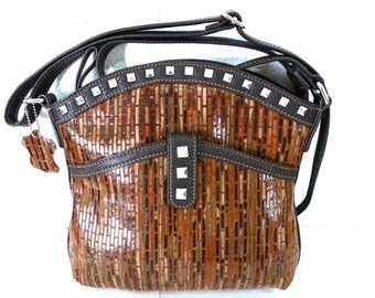 SALE Genuine Leather Studded Bag MC Marc Chantal  Satchel messenger Crossbody Shoulder Bag