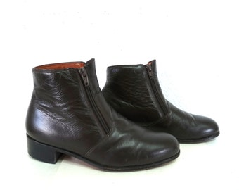 Valentino Ankle Boots Brown Leather Stacked Wooden Heel Men 6 or Women 8.5