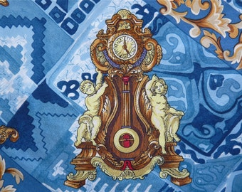 Vintage Hermes design Silk Scarf Clock Cherub Fleur De lis Mythology Art Print in Blue and Gold