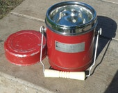 Vintage 50's Red Metal Insulated Food Soup Stew Thermos With Lid Made By Camel USA