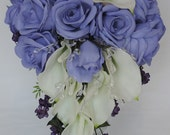 Real Touch / Latex Calla lilys and Silk Lavender Roses,Crystal  Wedding Cascade Cascading Bouquet Ivory,Cream Off-White.