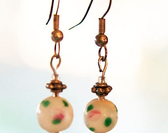 Dainty earrings - painted glass beads with white and green, pink roses and silver saucer