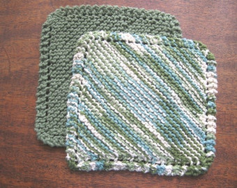 Set of Two (2) Knitted Cotton Dishcloths - Solid Sage Green - Sage Green/Turquoise/Cream