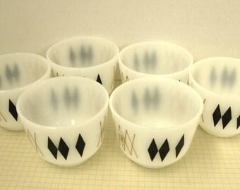 Vintage Federal Glass Custard Cups - Black Diamond Pattern - Set of 6