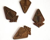 4 Vintage 1950s  Mini Sword Shields // 40s 50s Copper / Brass Crests // French Heraldry