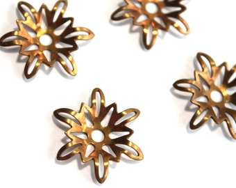 4 Vintage 1960s Flowers // 60s 50s Flower Finding  // Brass // Craft Jewelry Supply // NOS // Spring