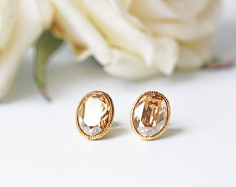 Golden Shadow Champagne Swarovski Titanium Stud Earrings Oval Crystal Gold Earrings