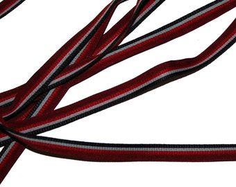 Black, grey and red  1/4 inch decorative flat cord with lip
