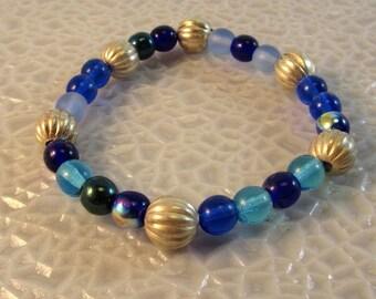 Blue and Silver Bead Stretch Bracelet