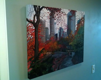 NYC Original Oil Painting - 30x24 Autumn Central Park Scene New York Oil Painting