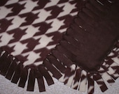 Fleece Blanket - Houndstooth Check - Brown And Cream