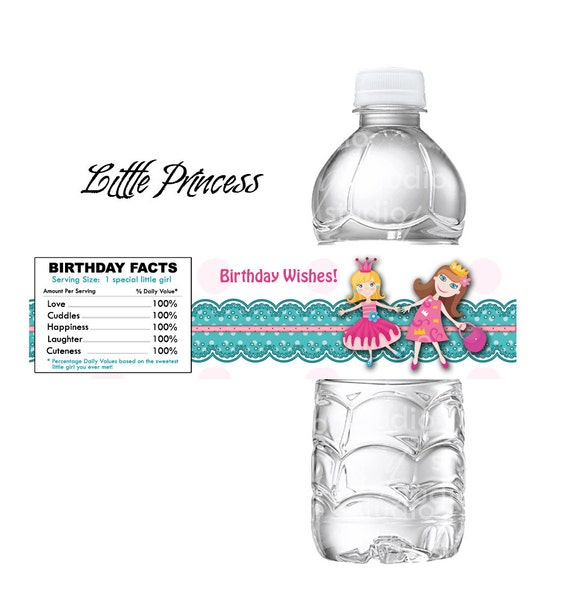 water bottle labels template avery - girls princess party water bottle label fits avery templates