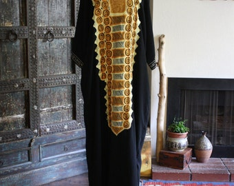 amazing embroidered black and gold kaftan/dress