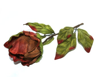 1 Reddish Brown Peony Ball Pick - Boutique Quality - Artificial Silk Flower