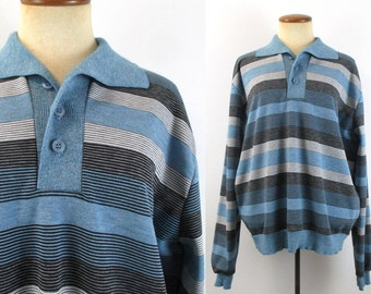 1970s Hipster Sweater Shirt Polo Button Neck Wide Collar Pullover Blue Black Stripes Vintage 70s Long Sleeves Unisex Medium Large M L Retro
