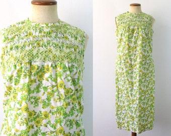 1960s Shift Dress Summer Sundress Smocked Sleeveless Floral Garden Midi A-Line Vintage 60s Cotton Day Lightweight Sun Medium M Smock Retro