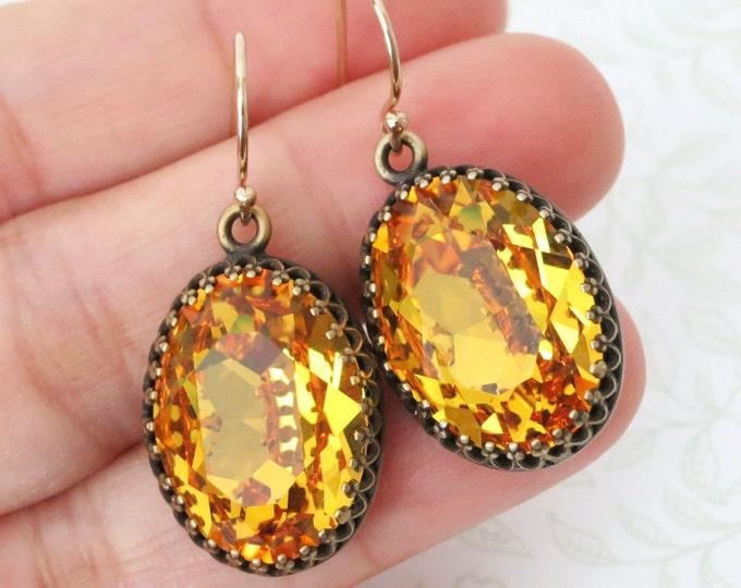 Sunflower Yellow Crystal Earrings GOLD FILLED Ear wires, Brass Adjustable Swarovski Crystal Oval Bridal Bridesmaid Wedding Vintage Earrings