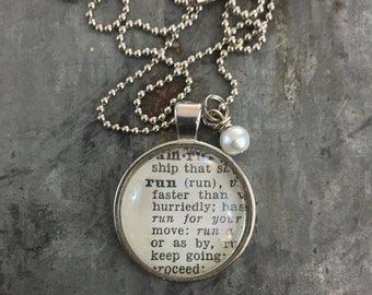 Vintage Dictionary Word Necklace Pendant RUN