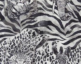 Robert Kaufman Grey Wild Side Zebra fabric by the yard AGX-15167-12