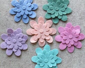 Watercolors - Daisies - 36 Die Cut Felt Flowers