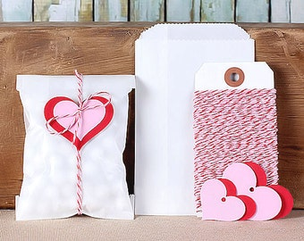 Valentine's Party Favor Kit: Mini Glassine Bags, Bakers Twine & Heart Gift Tags, Party Favor Bags, Candy Bags, Goodie Bags (12)