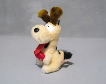 Odie The Dog Plush Toy with Red Heart Vintage Stuffed Animal / Rare Take my Heart Garfield Best Friend Small Sitting Dog, Dog Lover Gift