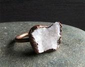 Druzy Ring Rough Stone Jewelry Geode Copper Crystal Gemstone Raw Gemstone Ring Size 8.5