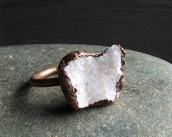 Druzy Ring Rough Stone Jewelry Geode Copper Crystal Gemstone Raw Gemstone Ring Size 8.5