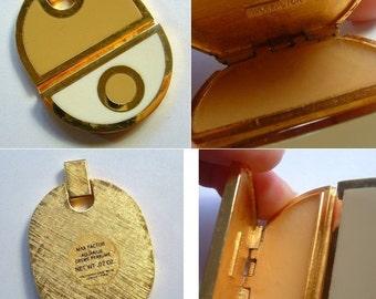 1970's Max Factor Golden AQUARIUS Solid Perfume Compact Pendant FULL - Unused Pendant
