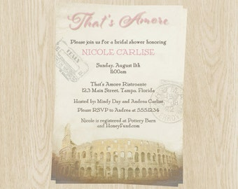 Bridal Shower Invitations, Pink, Italy Theme, Wedding, Stamps, Retro, Coliseum, Set of 10 Printed Cards, FREE Shipping, AMORE, That's Amore