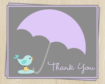 Baby Shower Thank You Cards, Baby Sprinkle, Umbrella, Raining, Puddle, Bird, Purple, 24 Folding Notes, Free Ship, EASGL