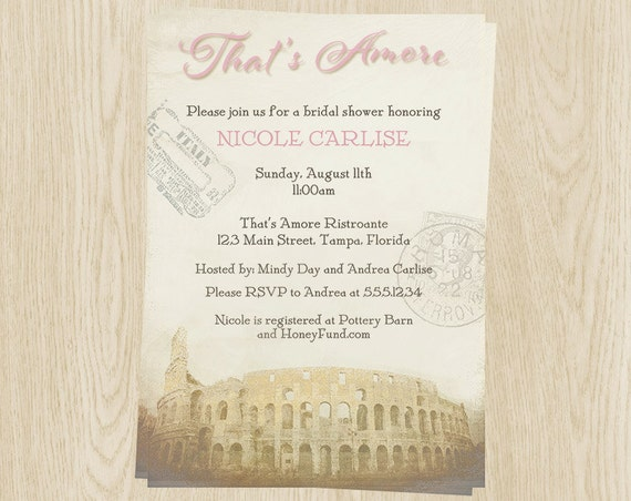 italian bridal shower invitations italy amore pink blush