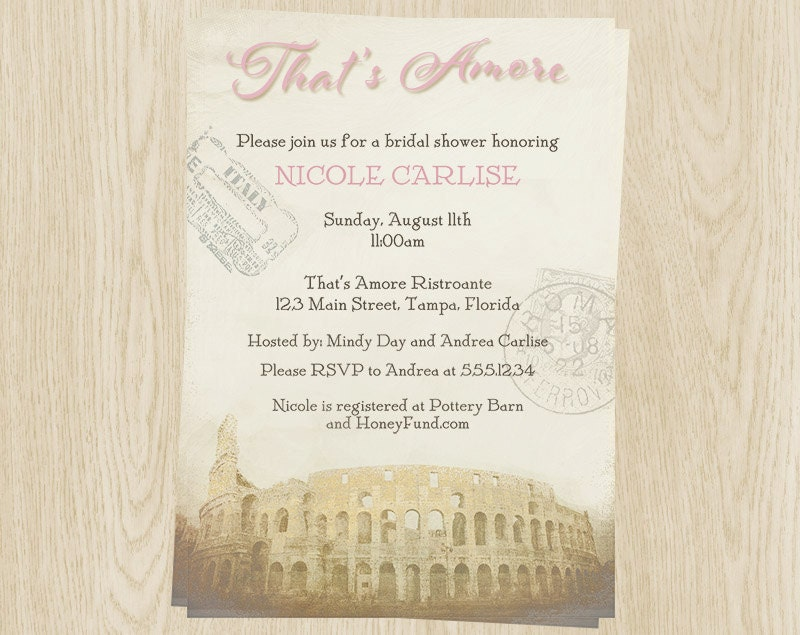 Bridal shower invitations pink italy theme wedding stamps for Italian bridal shower invitations