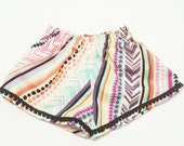 High Waisted Wide Leg Shorts- Pom Poms - Baby Toddler Girls - Bloomers Shorties - Spring Summer - Pastel Aztec