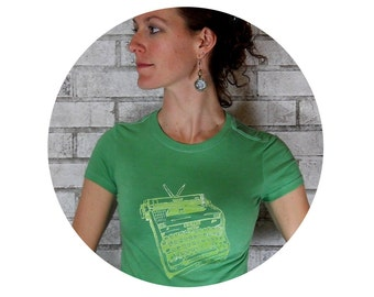T SHIRT, Ladies Typewriter Tshirt , Kelly Green, Women, Writer Gift, Cotton Crewneck Tee Shirt, Hand Printed, Type Writer, Typing