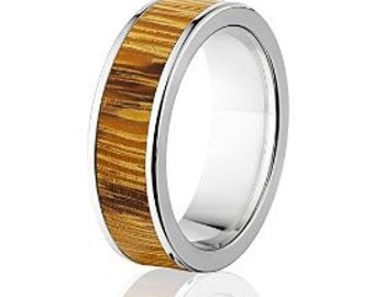 New Marble Wood Rings, Exotic Hard Wood Wedding Band w/ Comfort Fit: 7F_Marble Wood