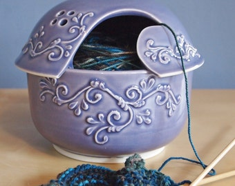 yarn bowl with scrolls in Lavender