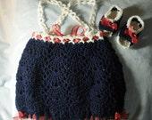 CUSTOM ORDER for CATHLEEN - Crocheted Infant Romper Sunsuit Crocheted Sandals Infant 3-6 mo Navy Blue White Trim