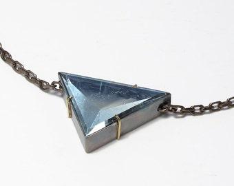 Aquamarine Scalene Triangle Slide Necklace Sterling 18k