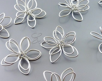 2 large 25mm handmade delicate flower charms, wire work jewelry, earrings, necklace, 1321-MR-25 (matte rhodium, 25mm, 2 pieces)