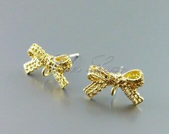 2 sweet lace ribbon post earrings, crochet bow earrings | sterling silver posts earring findings 1044-MG
