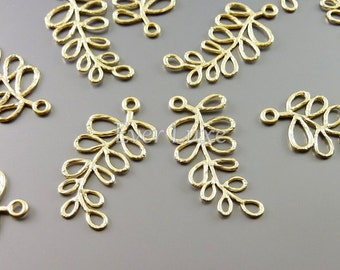 2 Small fern leaf charms, leafy branch charms, matte gold brass, nature inspired jewelry designs, craft 1944-MG (matte gold, 2 pieces)