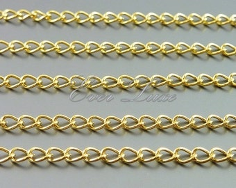 1 meter high quality 16K gold plated brass curb chain, 4mm x 2.5mm link, necklace, jewelry chains, craft supplies B100-BG