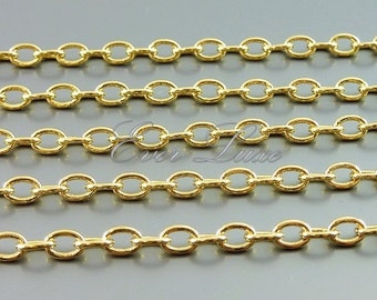 1 foot shiny gold 5mm x 4mm plain oval link rolo chain, high quality chains, chain bracelet, statement necklaces B112-BG