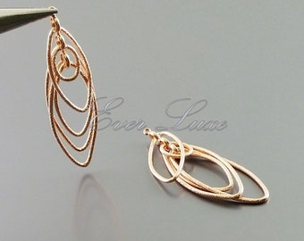 2 rose gold stardust Multiple marquise pendants, layered cascade marquise pendants, rose gold earrings 1931-MRG (matte rose gold, 2 pieces)