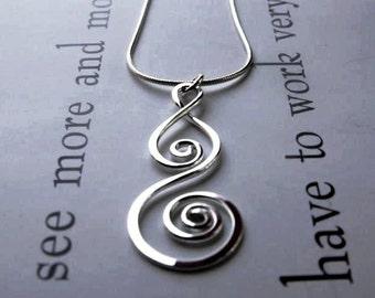 Silver Spiral Pendant - Sterling Silver Metalwork Artisan Design