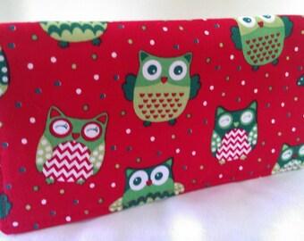 Handmade checkbook cover - owls