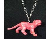 Panther Pink Glitter Necklace - Pastel Goth - Punk - Fairy Kei- Jewelry - Animal Jungle Cat